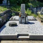 イノシシ被害にあわれた墓石の修理が完了。たつの市自治会墓地にて