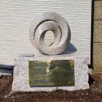 姫路市網干区の会社様にて、創業100周年記念碑を岡山県産万成石で作成しました