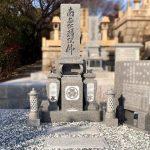 墓相式のお墓を、愛媛県産大島石の代々墓に建て替え。姫路市井ノ口の御山廟所(東のお山)にて