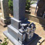 赤穂市寺院墓地にて、約100年前のお墓の建て替え工事。神戸型、免震施工でお参りしやすいお墓